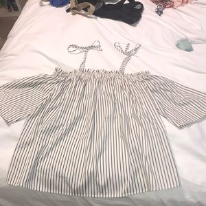 Black and white striped semi off the shoulder Top